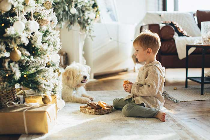 kid with a dog with the tree besides